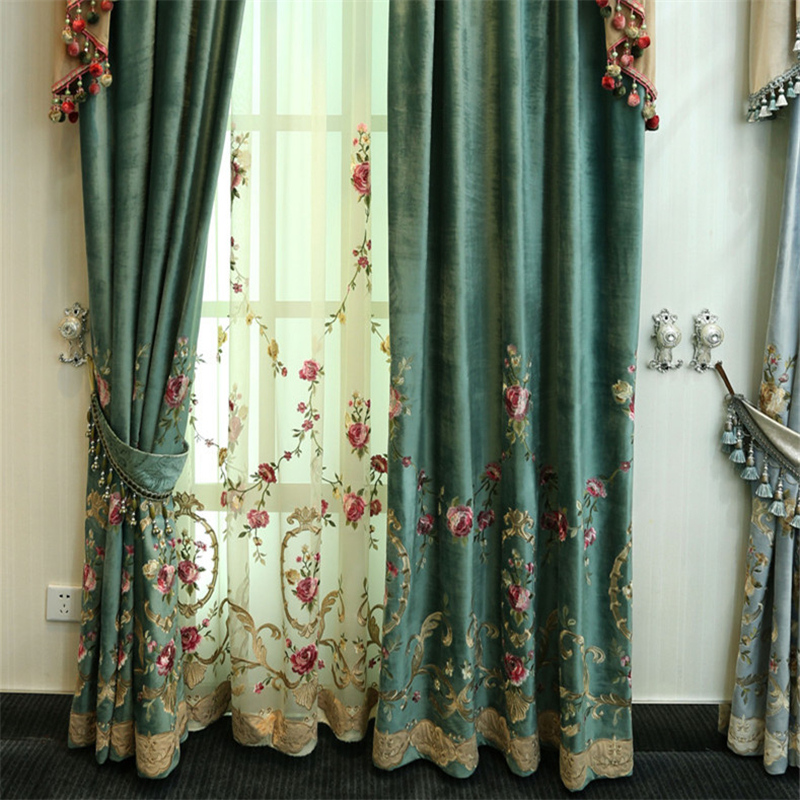 Embroidered Curtains Drapes Window-Treatment Velvet Bedroom Living-Room Green High-Quality