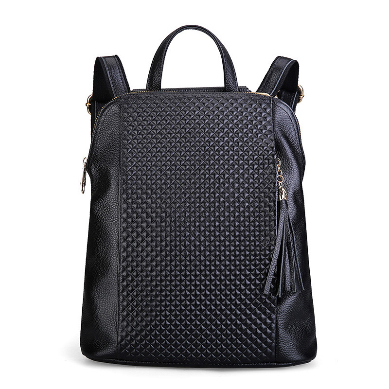 Brand Grid Women Backpack Tassel Waterproof Female Shoulder Bag Real Leather Girl School Bag Anti-theft Design