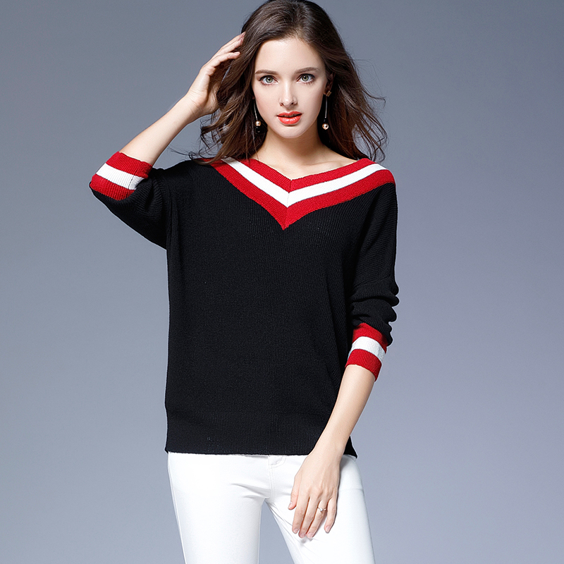 Fashionnable red white striped black loose sweater 1