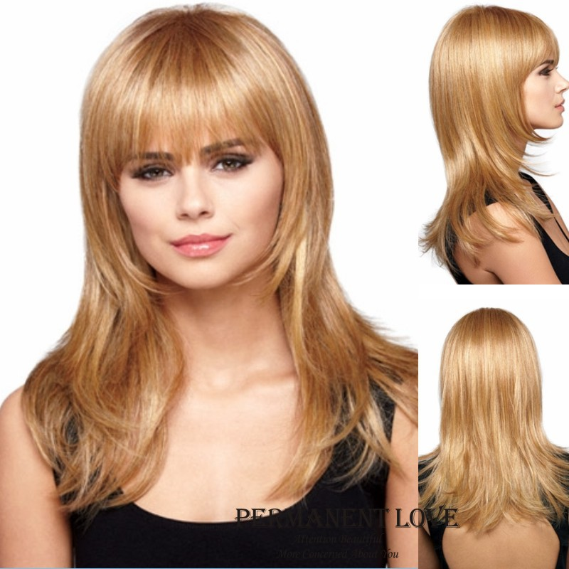 Blonde long layered wigs with fringe natural straight