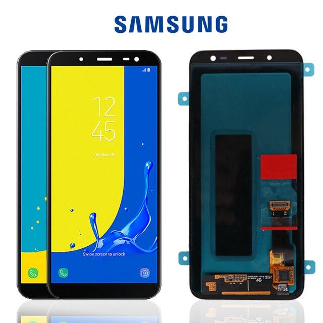 100% Original 5,6 ''Super AMOLED LCD para Samsung Galaxy J6 2018 J600F J600 pantalla con reemplazo de montaje de pantalla táctil partes