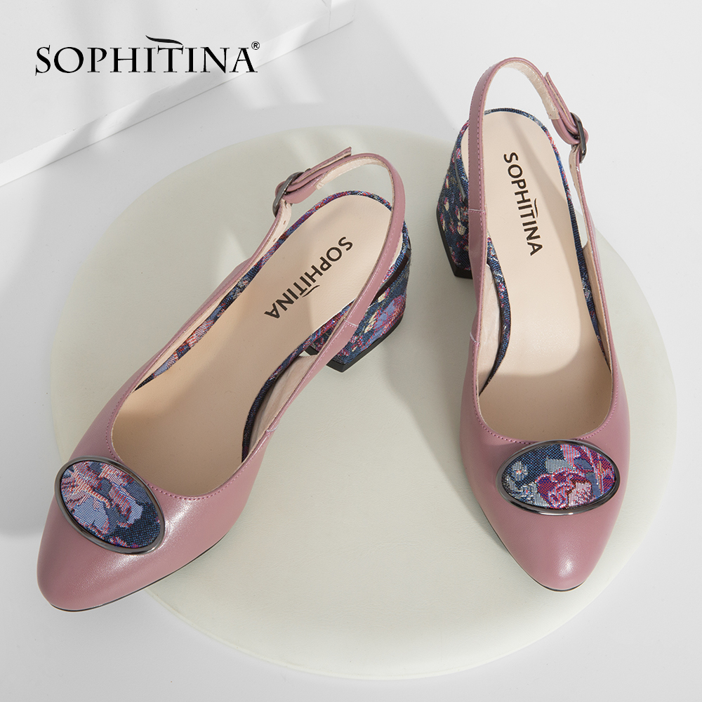 SOPHITINA 2019 Big Size Woman s Sandals Sheepskin Party Buckle Strap Fashion Floral Metal Decoration Shoes