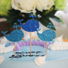 6 pcs pack Kawaii Blue Whale Cake Topper Set for Kids Birthday Party Decoration Supplies Baby