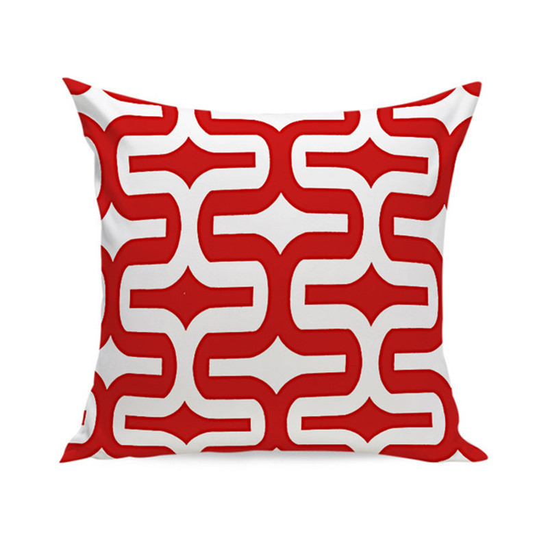 Nordic Cushion Red White Decorative Velvet Geometric Cushions Covers Home Decor