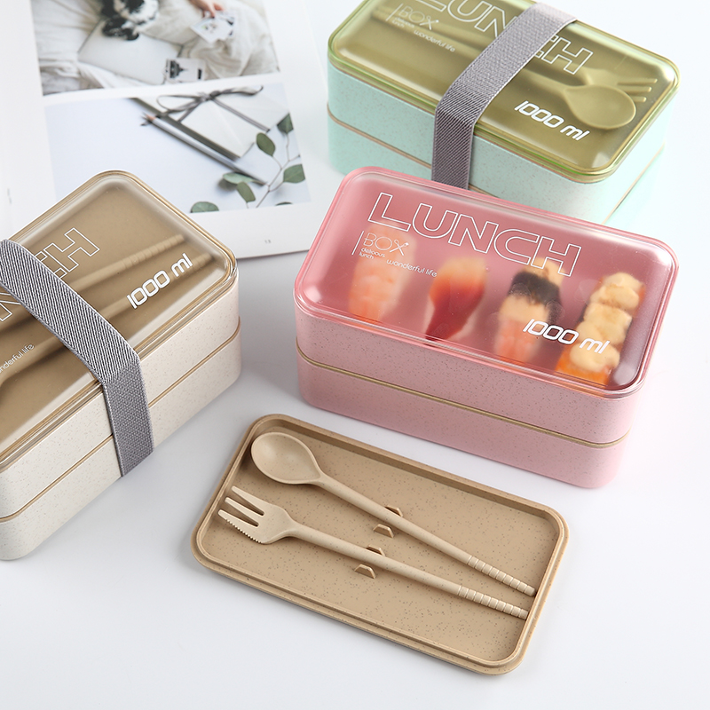1000ml Protable Healthy Lunch Box Double Layer Wheat Straw Bento Boxes Microwave Dinnerware Food Storage Container Food Box