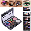 14colors/set Professional Warm Color Neutral Glitter Diamond Eyeshadow Blush Palette Cosmetic Makeup Box With Brush Mirror