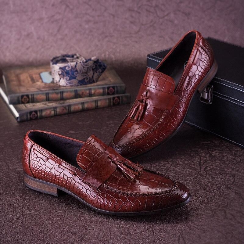 Мужские натуральная кожа Оксфордские туфли для мужчин с острым носком винтажное платье свадебные туфли без шнуровки итальянские оксфорды