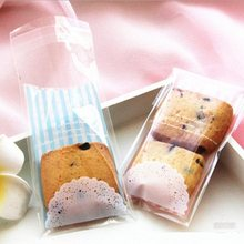 100*70mm/ Sweet Lace Stripe Self-adhesive Gift Food Packing Bag/Cute Small Biscuit bag Plastic Bag/wholesale(China)
