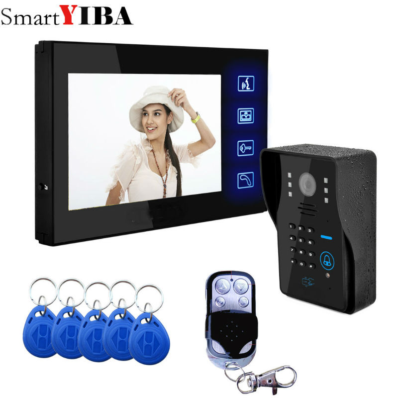 SmartYIBA Touch Screen Video Doorbell 7''Inch Monitor Wired Video Door Intercom Door Phone System Password RFID Access Camera цена