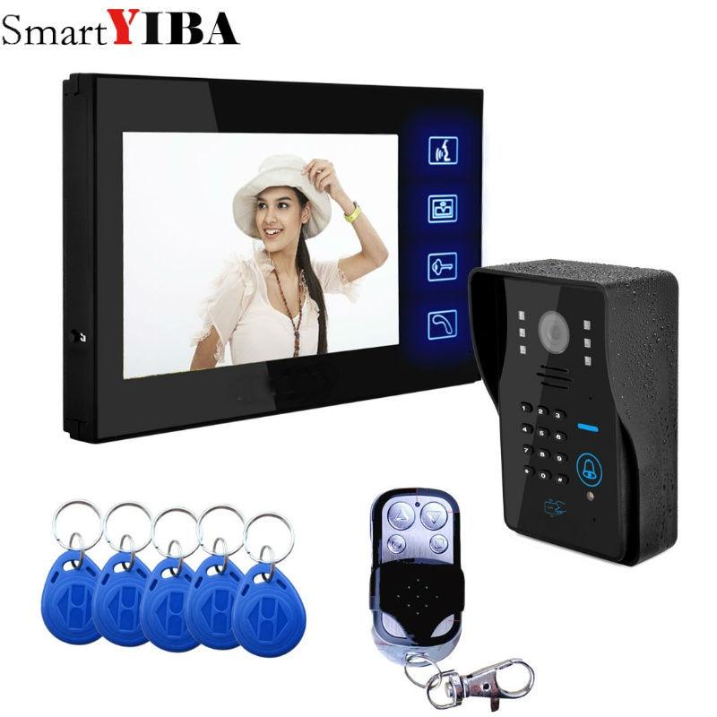 SmartYIBA Touch Screen Video Doorbell 7''Inch Monitor Wired Video Door Intercom Door Phone System Password RFID Access Camera