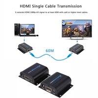 Lkv372a hd 1080 p hdmi extender tx/rx 60 m cat6 üzerinde ir ile rj45 ethernet kablosu destek hdmi 3d hdtv dvd oynatıcı dijital kablo