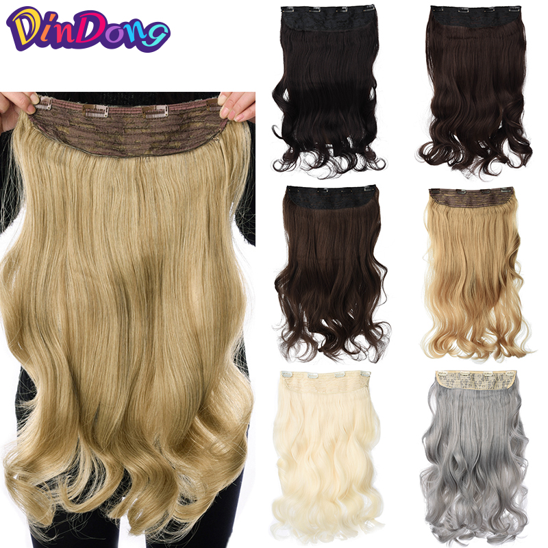 Dindong Hair-Extensions Blonde Grey Clip-In 19-Colors-Available Synthetic Heat-Resistant-Fiber