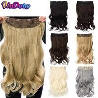 DinDong 24 дюйма синтетические накладные волосы на застежке, Follow Me 19 Цвета доступен белый серый Термостойкое волокно 190 г