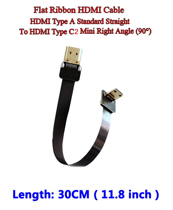 30CM Thin HDMI Ribbon Flat Cable Straight Type A Male to Male Type C2 Mini UP Angle 90 Degree Super Flexible Cable FPV 11.8Inch 30cm thin hdmi ribbon flat cable straight type a male to male type c2 mini up angle 90 degree super flexible cable fpv 11 8inch