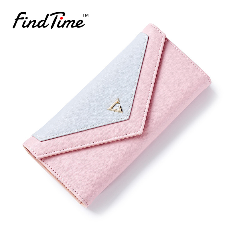 FINDTIME New women Brand leather Wallet Female Simple Fashion Stitching Purse Ladies Long Section Handbag Card Holder Pocket women hand woven cross design chain long section handbag card wallet purse