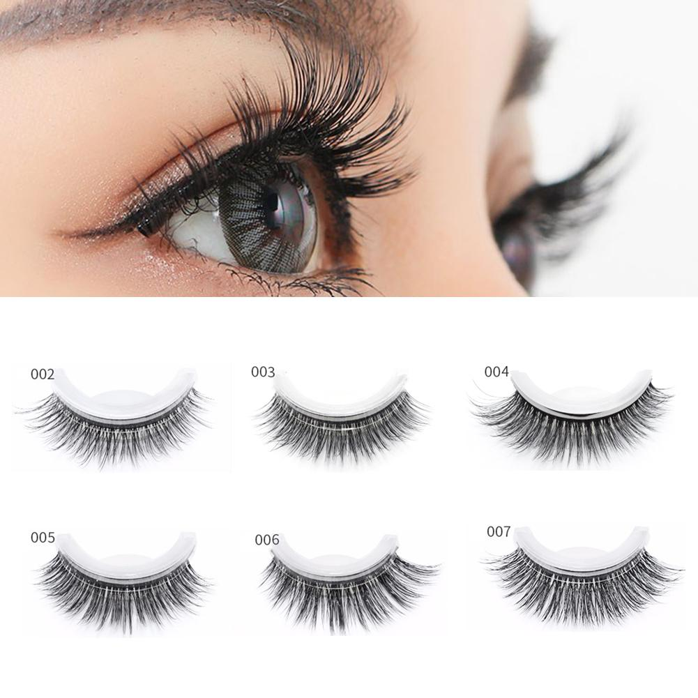1Pair Makeup Natural Mink Hair False Eyelashes Beauty Reusable Self-adhesive Extension Tool Glue-band Quick Wearing In 3 Seconds