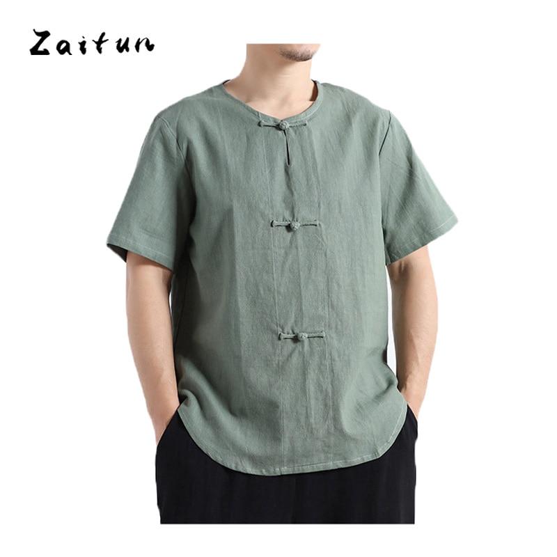 ZAITUN Summer Men Linen Shirts Fashion Casual Traditonal Button Short Sleeve Collarless Slim Fit Big Size Breathable Brand Shirt