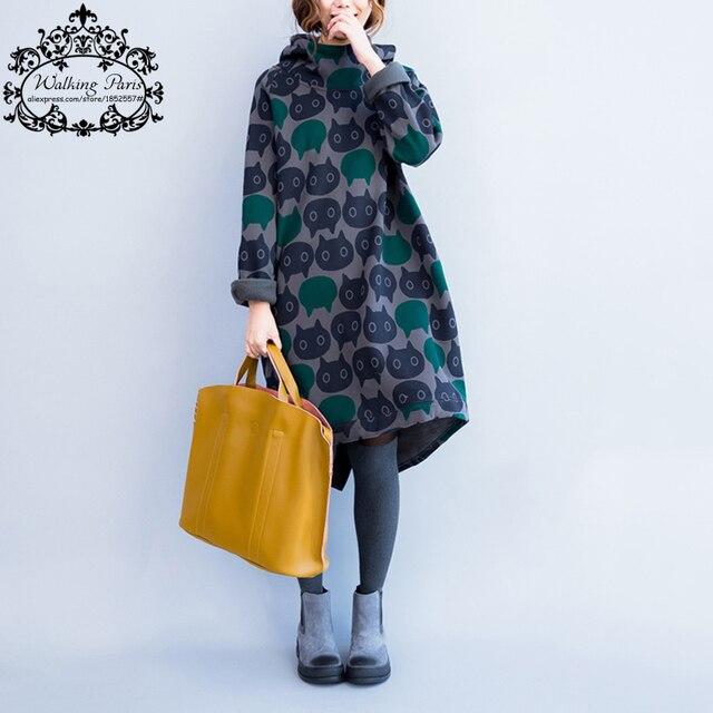Плюс Размер Женщины Толстовки и Кофты Зима Утолщение Теплый Хлопок Мода Женский Cat Печати Большой Размер Повседневная Водолазка Платье