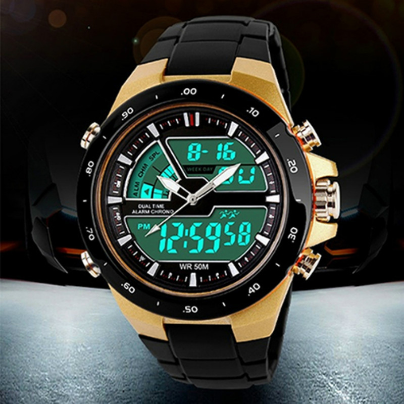 Men Stainless Steel Waterproof Chronograph Sport Digital Watches Analog Dual Time Alarm Date Hot 5HXHMen Stainless Steel Waterproof Chronograph Sport Digital Watches Analog Dual Time Alarm Date Hot 5HXH