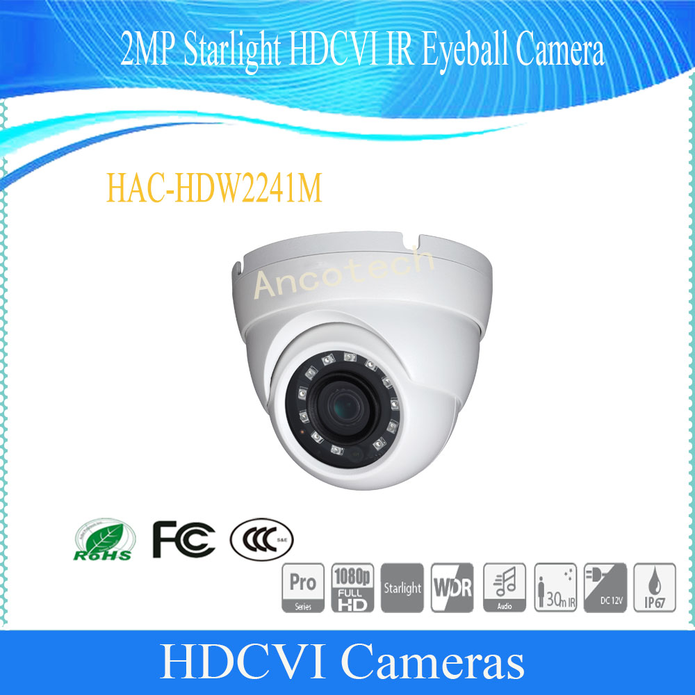 Free Shipping Original English DAHUA Security Camera CCTV 2MP Starlight HDCVI IR Eyeball Camera IP67 DH-HAC-HDW2241MFree Shipping Original English DAHUA Security Camera CCTV 2MP Starlight HDCVI IR Eyeball Camera IP67 DH-HAC-HDW2241M