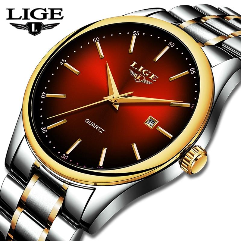 2019 New LIGE Mens Watches Top Brand Luxury Full Steel Business Quartz Watch Men Fitness Sports Waterproof Clock Relojes Hombre