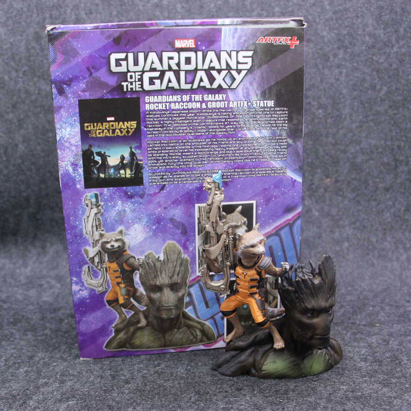 ARTFX + Marvel Guardians Of The Galaxy Vingadores Rocket Raccoon & TreeMan Ver Action Figure Brinquedos 16 cm