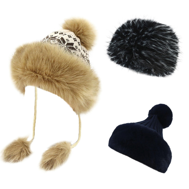 Lady Luxury Winter Fleece Lined Bobble Beanie Hat With Faux Fur Trim And Pom  Pom winter d1be75dd7889