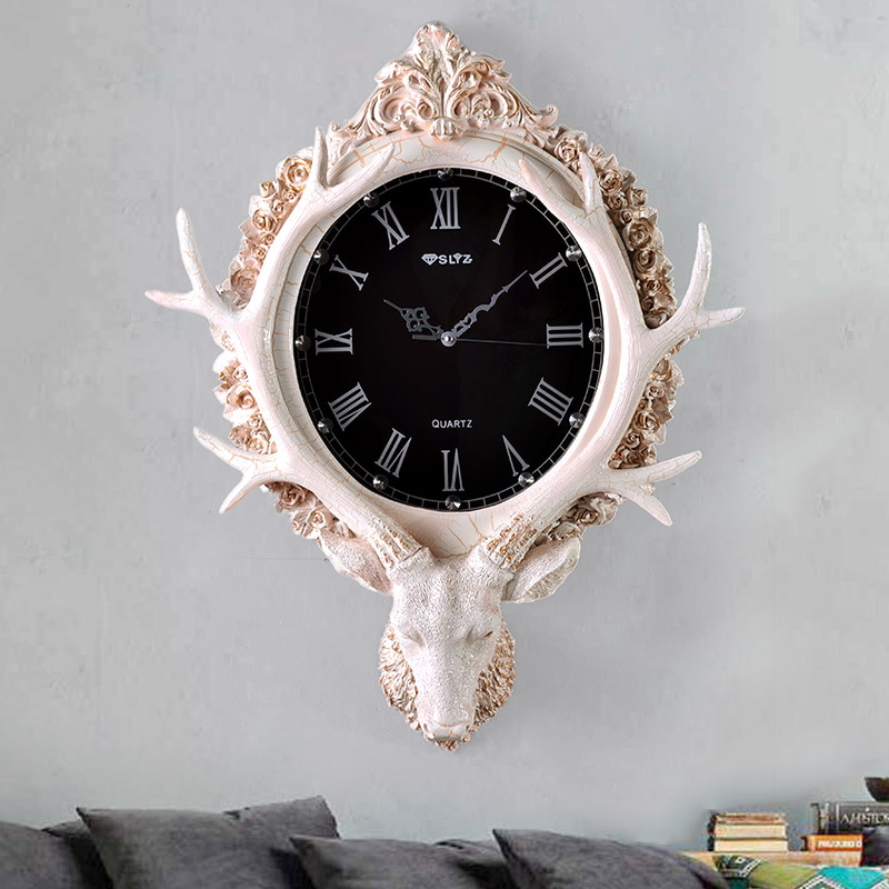 European style retro art clock room watch deer decorative wall hanging large personality silent watch 1