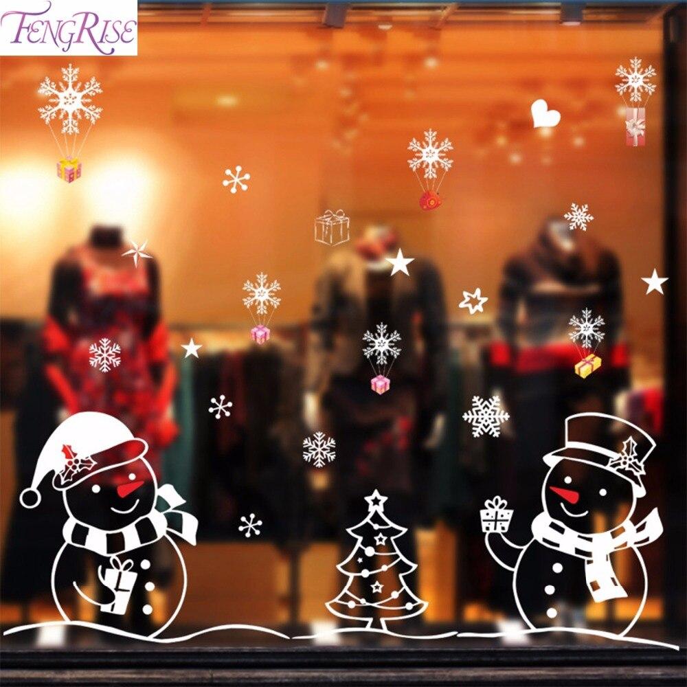 Fengrise Рождество стены Стикеры Рождество Аксессуары для дома окна Стикеры магазин Xmas обратно землю украшения Новый год Декор