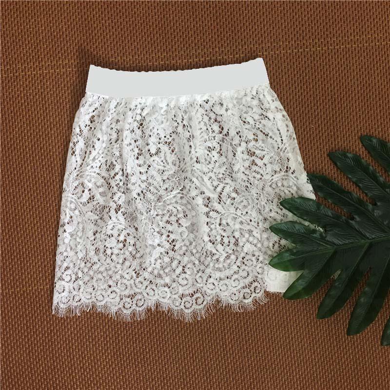 Women Lace Hollow Out Skirt Underskirt Sexy Club High Waist Transparent Short Micro Mini Black White Pencil Skirt Overskirt