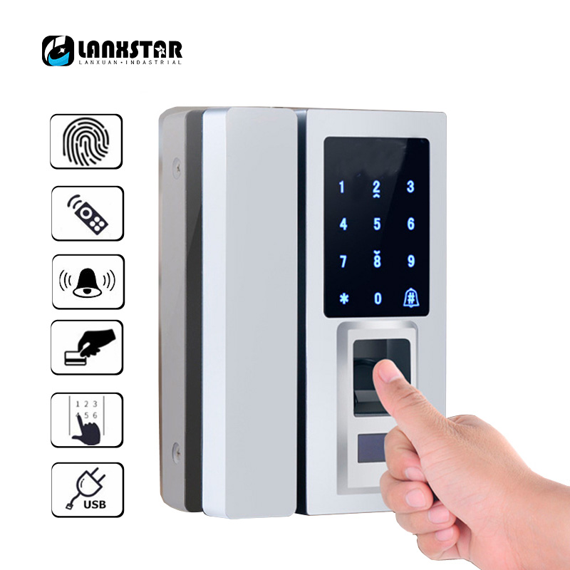 Lanxstar Glass Door Intelligent Electronic Door Lock Touch Screen Fingerprint /Password Code /RFID Card Keyless Latch smart Lock