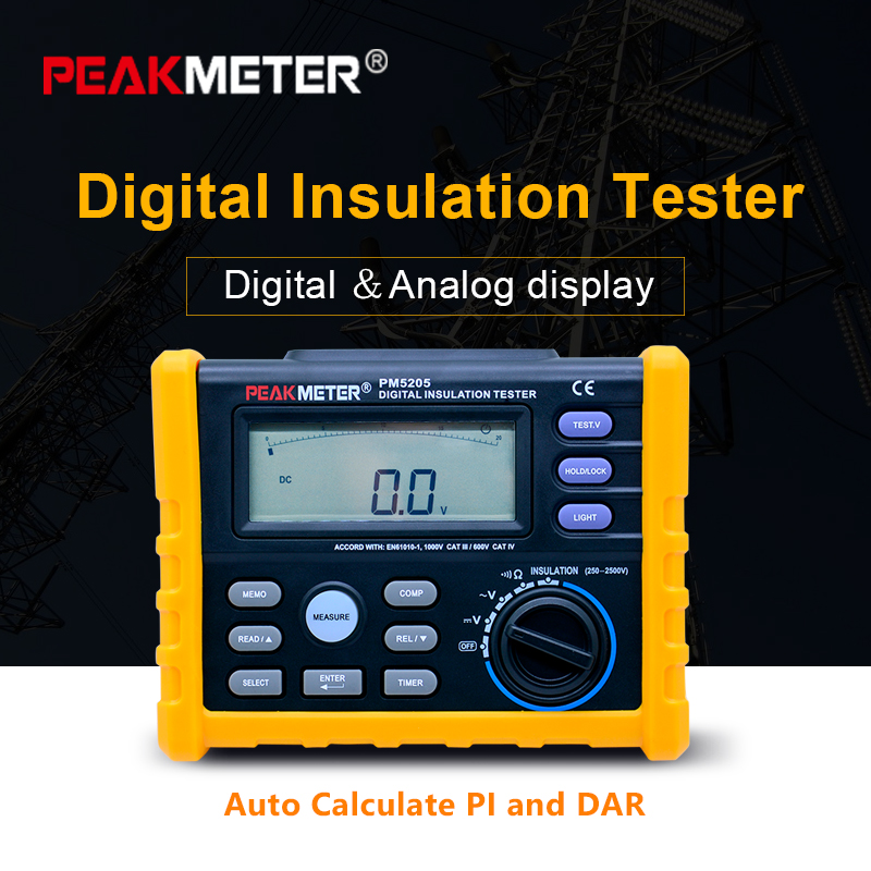 PEAKMETER MS5205 Digital Insulation Resistance Meter 0 01 100G ohm 250V 2500VTester Analogue Megohm Meter