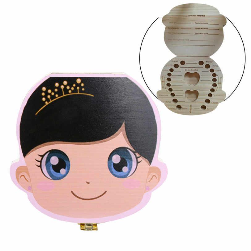 Португальский деревянный коробочка для молочных зубов Органайзер молочный зуб ящик для хранения для мальчиков и девочек сохранить зубы пупочной шнур Lanugo Dente caixa 0817