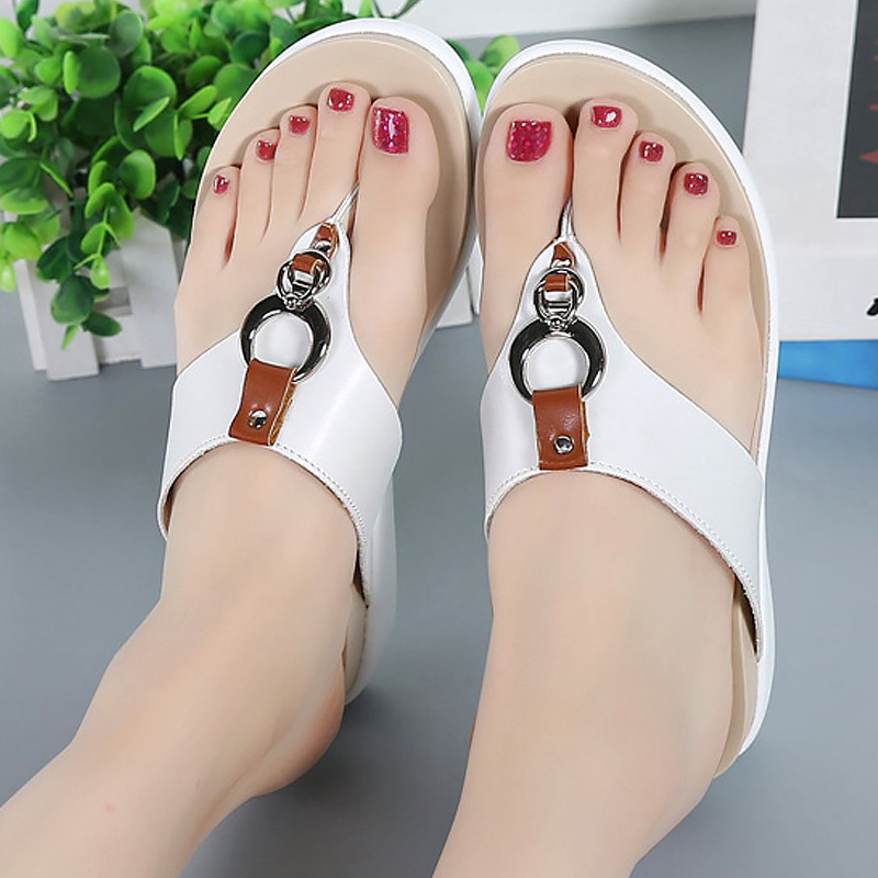 Flip flops genuine leather sandals women shoes metal decoration sweet ladies sandals slip-on casual shoes big size 35-43 plardin 2017 bohemia summer casual women wedges platform woman ladies metal decoration flip flops genuine leather shoes
