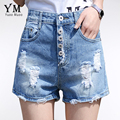Yuoomuoo nova chegada rasgado mulheres calções de verão casuais shorts jeans luz azul shorts jeans do vintage quente
