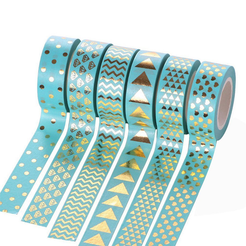 Ijverig 6 Pcs Plakband Stickers Met Patroon Mooie Washi Papier Diy Decoratie Kalender Scrapbooking Album Gift Papier Blauw