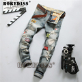 2016 Hot Sale Solid Slim Retro Men Designer Jeans Straight Pants Denim Trousers Biker Jeans Famous Brand Ripped Jeans Male C116