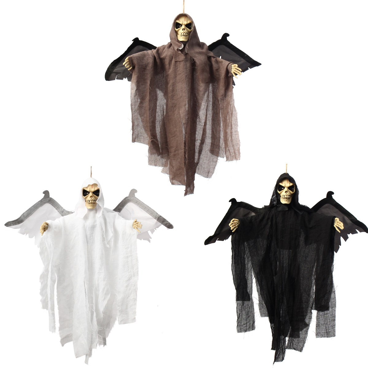 Diy halloween ghost3 - Hanging Halloween Ghost Witch Scary Haunted Props Voice Control Skull Wing Cloak Pendant Halloween Party Events