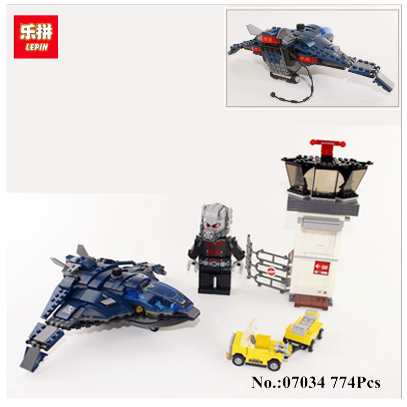 858pcs Lepin 07034 Airport Battle Captain America Civil War Super Heroes Toy Blocks Avengers Compatible with 76051 Toys