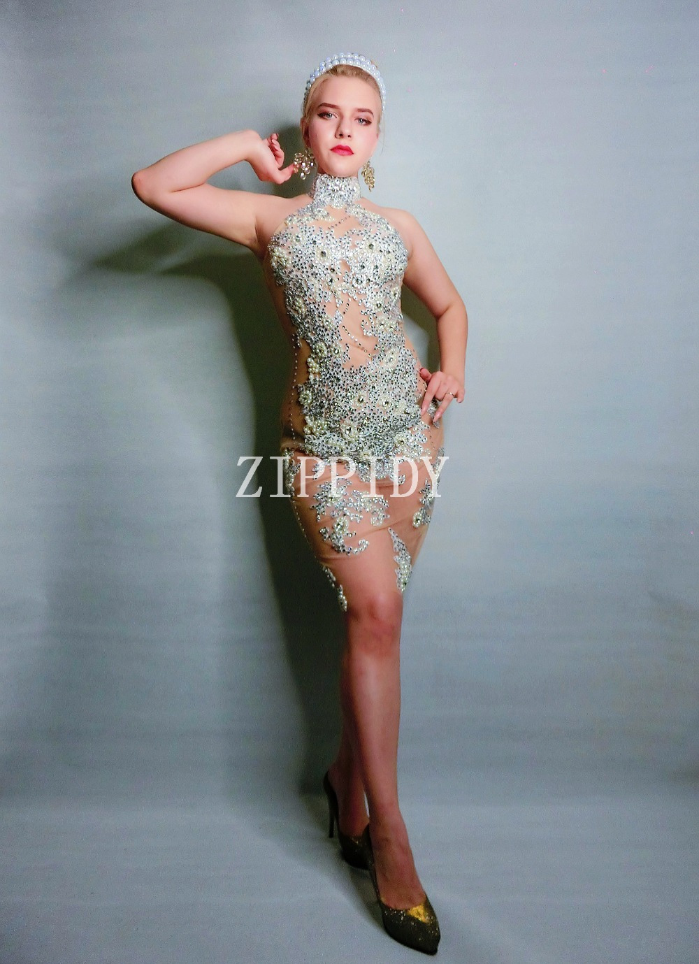 pérolas desempenho vestido ZIPPIDY 11