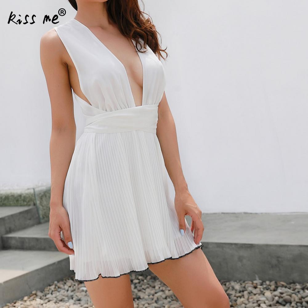 Летнее мини-платье 2018 Sexy Глубокий V и спинки выдалбливают Для женщин Бандажное платье Vestidos шнурок шифона Повседневное белое платье