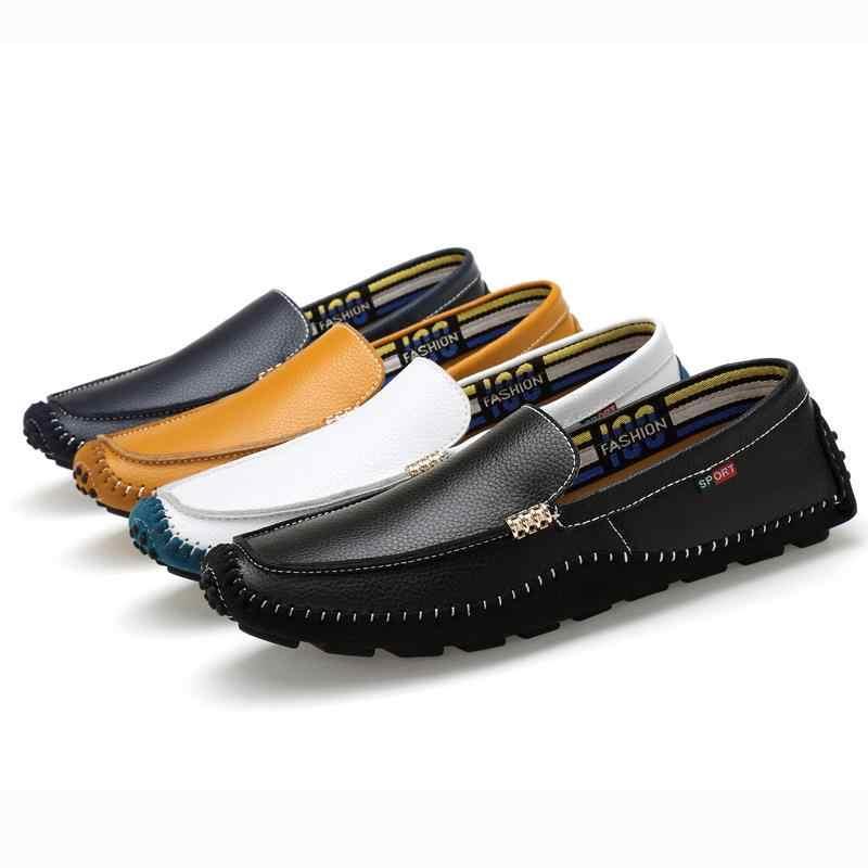 2019 Дизайнерские мужские туфли ручной высокое качество Для мужчин s Лоферы Повседневное вождения Мокасины Мужская обувь из натуральной кожи Для мужчин лодка Shoes47