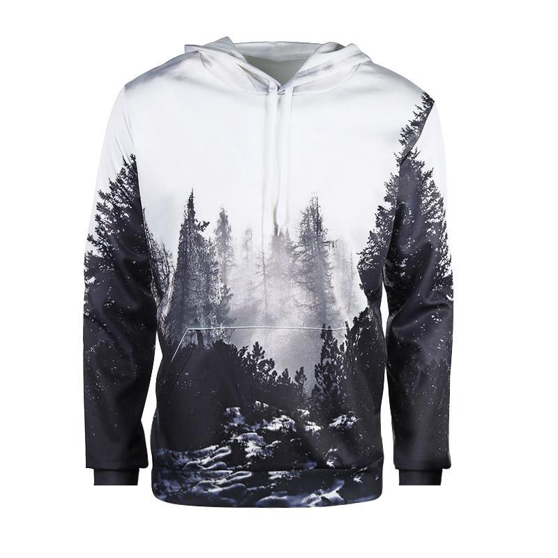 Autumn Winter 3D Foggy Forest Fashionable Style Women/Men Loose Hoodies Sweatshirt Unisex Digital Print Hooded Pullovers