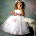 Retro Summer Fashion Bow Flower Sleeveless Girls Dress Girl Lolita Sliod Tutu Princess Party Ball Gown Kids Dress