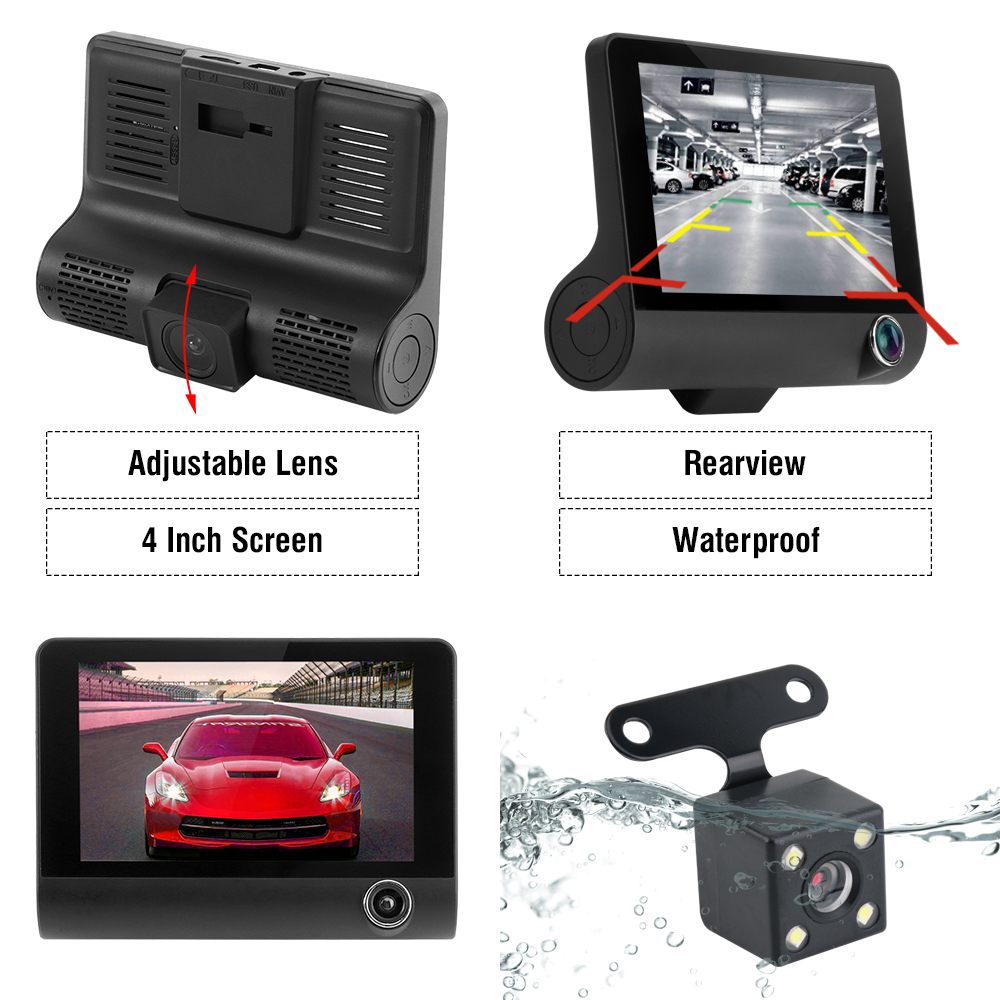 Image 5 - Car DVR Dash Camera Full HD 1080P 4.0 Inch Three Camera IPS Screen Car Camera Dash Cam Driving Video Recorder Car accessories-in DVR/Dash Camera from Automobiles & Motorcycles