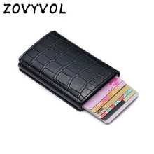 Vintage Crocodile Pattern PU Leather Mini RFID Wallets for Men Women Aluminum Single Box ID Bank Credit Card Holders
