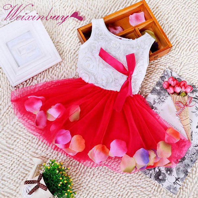 Baby Girls Dress Kids Lace Bow Fake Flower Petal Tutu Dresses for 3-24 months