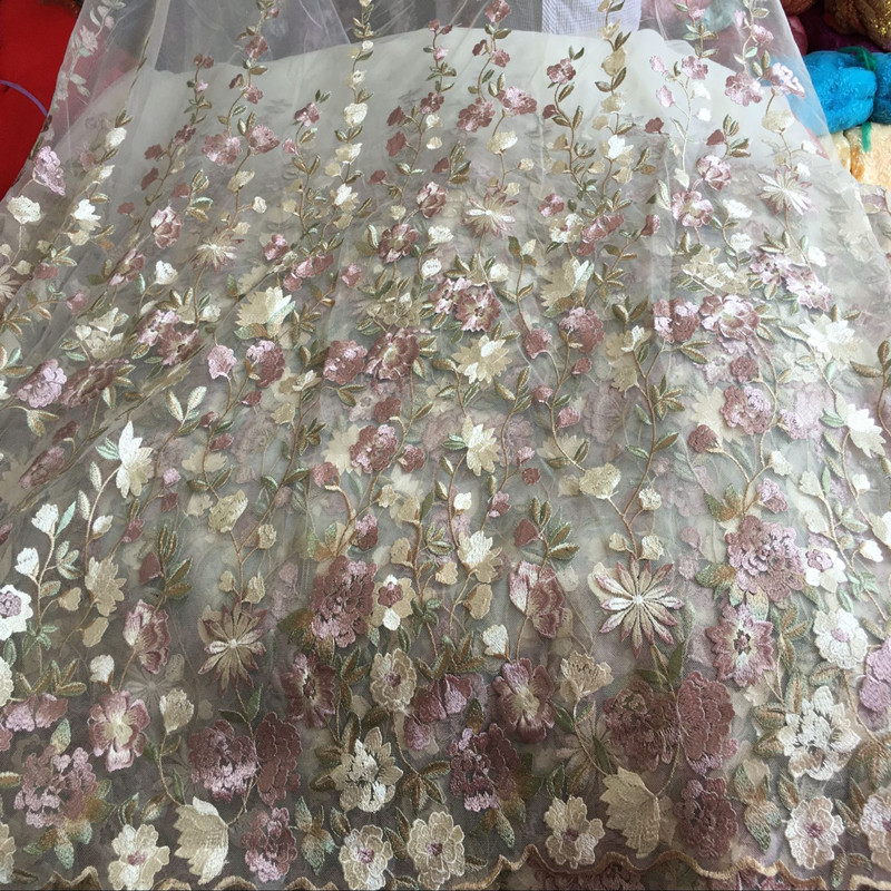 120 100cm Multicolor Flower Net Embroidered Fabric African Lace