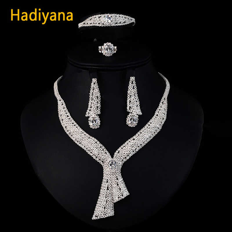 HADIYANA New Sparkling Crystal Tie Shape Jewelry Set in Stone Wedding Bridal Jewelry Accessory 4pcs Sets For Party Gift BN5316