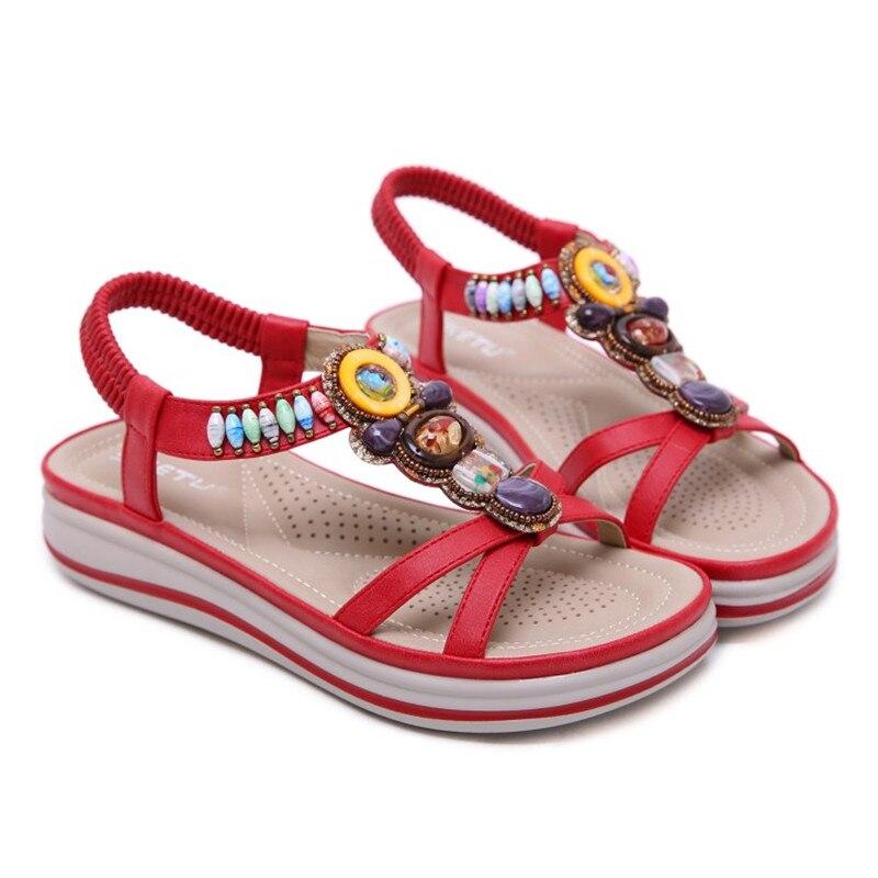 Женская обувь; коллекция 2019 года; летние сандалии на платформе в богемном стиле; женская модная повседневная обувь для свиданий - 4